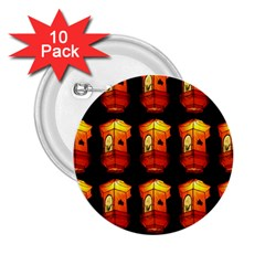Paper Lanterns Pattern Background In Fiery Orange With A Black Background 2 25  Buttons (10 Pack)