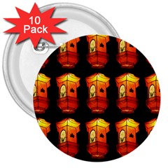 Paper Lanterns Pattern Background In Fiery Orange With A Black Background 3  Buttons (10 pack)