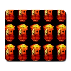 Paper Lanterns Pattern Background In Fiery Orange With A Black Background Large Mousepads