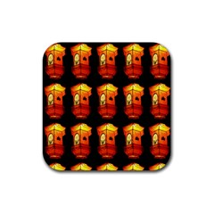 Paper Lanterns Pattern Background In Fiery Orange With A Black Background Rubber Coaster (Square)