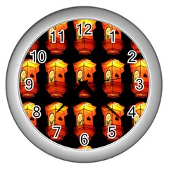 Paper Lanterns Pattern Background In Fiery Orange With A Black Background Wall Clocks (silver)