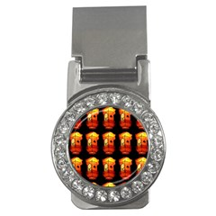 Paper Lanterns Pattern Background In Fiery Orange With A Black Background Money Clips (CZ)