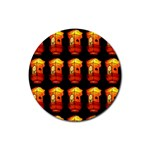 Paper Lanterns Pattern Background In Fiery Orange With A Black Background Rubber Coaster (Round)  Front