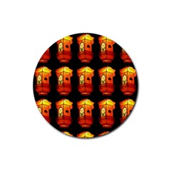 Paper Lanterns Pattern Background In Fiery Orange With A Black Background Rubber Round Coaster (4 pack)