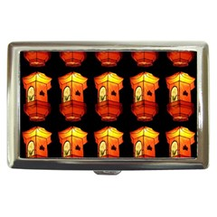 Paper Lanterns Pattern Background In Fiery Orange With A Black Background Cigarette Money Cases