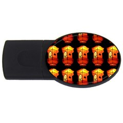 Paper Lanterns Pattern Background In Fiery Orange With A Black Background USB Flash Drive Oval (2 GB)