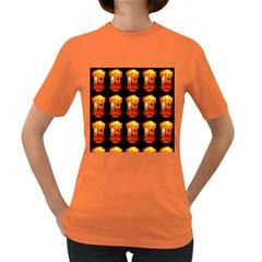 Paper Lanterns Pattern Background In Fiery Orange With A Black Background Women s Dark T-Shirt