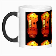 Paper Lanterns Pattern Background In Fiery Orange With A Black Background Morph Mugs