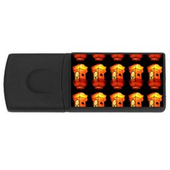 Paper Lanterns Pattern Background In Fiery Orange With A Black Background Usb Flash Drive Rectangular (4 Gb)