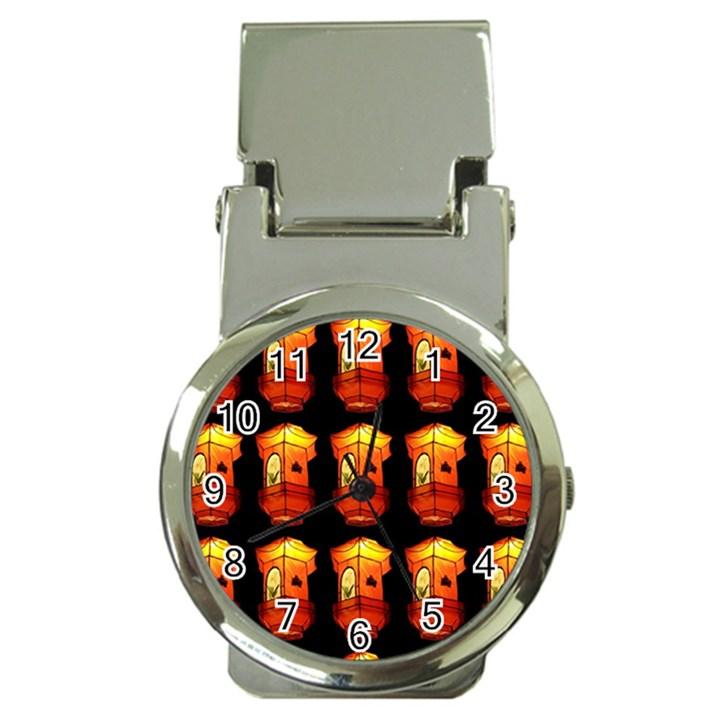 Paper Lanterns Pattern Background In Fiery Orange With A Black Background Money Clip Watches