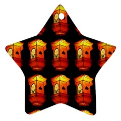 Paper Lanterns Pattern Background In Fiery Orange With A Black Background Star Ornament (Two Sides)