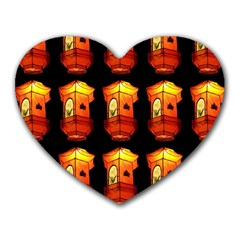 Paper Lanterns Pattern Background In Fiery Orange With A Black Background Heart Mousepads