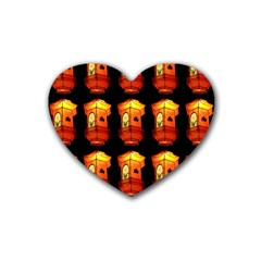 Paper Lanterns Pattern Background In Fiery Orange With A Black Background Rubber Coaster (heart)
