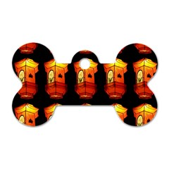 Paper Lanterns Pattern Background In Fiery Orange With A Black Background Dog Tag Bone (two Sides)