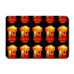 Paper Lanterns Pattern Background In Fiery Orange With A Black Background Small Doormat