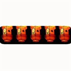 Paper Lanterns Pattern Background In Fiery Orange With A Black Background Large Bar Mats