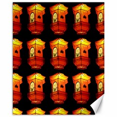Paper Lanterns Pattern Background In Fiery Orange With A Black Background Canvas 11  X 14