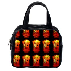 Paper Lanterns Pattern Background In Fiery Orange With A Black Background Classic Handbags (one Side)
