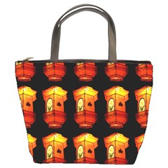 Paper Lanterns Pattern Background In Fiery Orange With A Black Background Bucket Bags