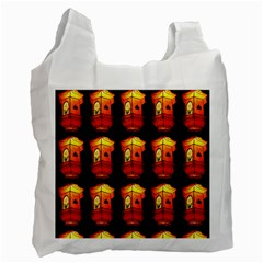 Paper Lanterns Pattern Background In Fiery Orange With A Black Background Recycle Bag (two Side)