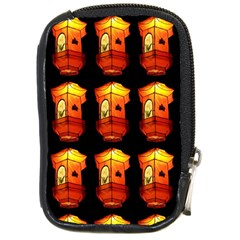 Paper Lanterns Pattern Background In Fiery Orange With A Black Background Compact Camera Cases