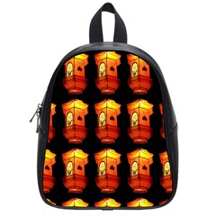 Paper Lanterns Pattern Background In Fiery Orange With A Black Background School Bags (small)