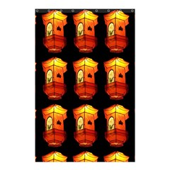 Paper Lanterns Pattern Background In Fiery Orange With A Black Background Shower Curtain 48  X 72  (small)