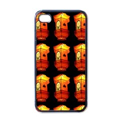 Paper Lanterns Pattern Background In Fiery Orange With A Black Background Apple Iphone 4 Case (black)