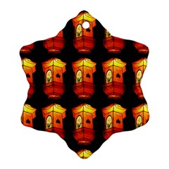 Paper Lanterns Pattern Background In Fiery Orange With A Black Background Ornament (snowflake)