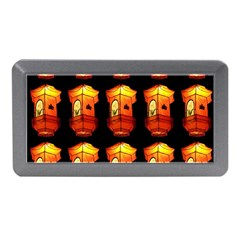 Paper Lanterns Pattern Background In Fiery Orange With A Black Background Memory Card Reader (Mini)