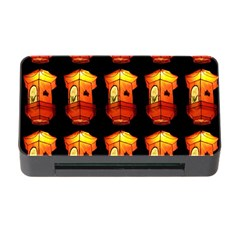 Paper Lanterns Pattern Background In Fiery Orange With A Black Background Memory Card Reader with CF