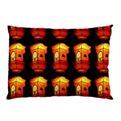 Paper Lanterns Pattern Background In Fiery Orange With A Black Background Pillow Case (two Sides)