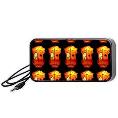 Paper Lanterns Pattern Background In Fiery Orange With A Black Background Portable Speaker (Black)