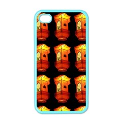 Paper Lanterns Pattern Background In Fiery Orange With A Black Background Apple iPhone 4 Case (Color)