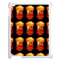 Paper Lanterns Pattern Background In Fiery Orange With A Black Background Apple iPad 2 Case (White)