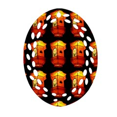 Paper Lanterns Pattern Background In Fiery Orange With A Black Background Ornament (Oval Filigree)