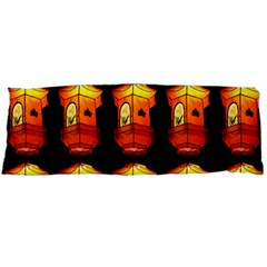 Paper Lanterns Pattern Background In Fiery Orange With A Black Background Body Pillow Case Dakimakura (two Sides)
