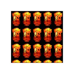 Paper Lanterns Pattern Background In Fiery Orange With A Black Background Acrylic Tangram Puzzle (4  x 4 )
