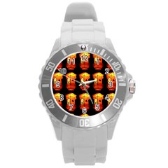 Paper Lanterns Pattern Background In Fiery Orange With A Black Background Round Plastic Sport Watch (L)