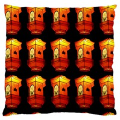Paper Lanterns Pattern Background In Fiery Orange With A Black Background Large Cushion Case (One Side)