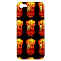 Paper Lanterns Pattern Background In Fiery Orange With A Black Background Apple iPhone 5 Hardshell Case
