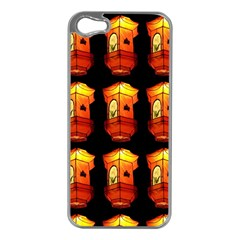 Paper Lanterns Pattern Background In Fiery Orange With A Black Background Apple Iphone 5 Case (silver)