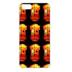 Paper Lanterns Pattern Background In Fiery Orange With A Black Background Apple iPhone 5 Seamless Case (White)