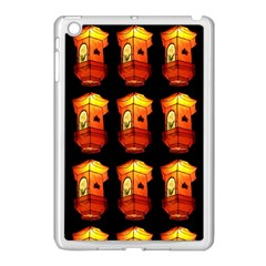 Paper Lanterns Pattern Background In Fiery Orange With A Black Background Apple Ipad Mini Case (white)
