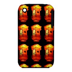 Paper Lanterns Pattern Background In Fiery Orange With A Black Background Iphone 3s/3gs