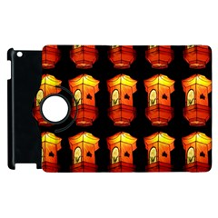 Paper Lanterns Pattern Background In Fiery Orange With A Black Background Apple iPad 2 Flip 360 Case