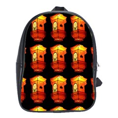 Paper Lanterns Pattern Background In Fiery Orange With A Black Background School Bags (XL)