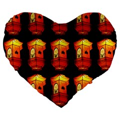 Paper Lanterns Pattern Background In Fiery Orange With A Black Background Large 19  Premium Heart Shape Cushions