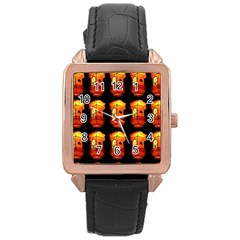 Paper Lanterns Pattern Background In Fiery Orange With A Black Background Rose Gold Leather Watch
