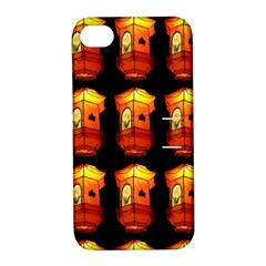 Paper Lanterns Pattern Background In Fiery Orange With A Black Background Apple iPhone 4/4S Hardshell Case with Stand